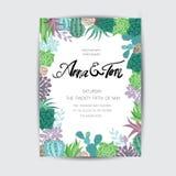 Le graphique de mariage a placé avec des minis-serres de succulents, de guirlande et en verre Image libre de droits