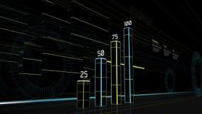 Le graphique futuriste sur la rue avec des bâtiments s'allume Photo stock