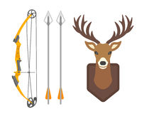 Le graphique mammifère d'andouiller de faune de renne de silhouette sauvage principale de cerfs communs et l'emblème à cornes de  Photo stock