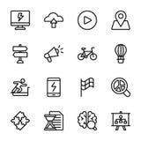 Le graphique, sprint, poussée, cerveau, ligne icônes de gain emballent illustration de vecteur