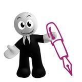 Le graphisme d'homme d'affaires avec s'inscrivent le symbole de crayon lecteur Images libres de droits
