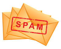 Le graphisme enveloppe le Spam d'inscription. Photo stock