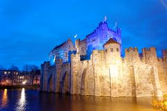 Le Gravensteen dans la ville de Gand en Belgique photos stock