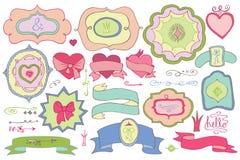 Le griffonnage a coloré des labels, insignes, élément de décor Amour Image libre de droits