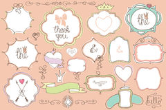 Le griffonnage a coloré des labels, insignes, cadre, élément de décor Ensemble d'amour Photo stock