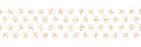 Le griffonnage fleurit la frontière sans couture de répétition de vecteur Jaune de corail de frontière florale tirée par la main  illustration libre de droits