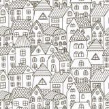 Le griffonnage loge le modèle sans couture Fond noir et blanc de ville illustration stock
