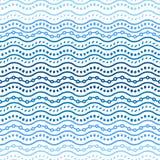 Le griffonnage ornemental géométrique bleu ondule le modèle sans couture, vecteur illustration libre de droits
