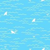 Le griffonnage sans couture d'océan de mer de modèle de dauphin de baleine de requin a isolé le fond de papier peint illustration libre de droits