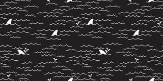 Le griffonnage sans couture d'océan de mer de modèle de dauphin de baleine de requin a isolé le noir de fond de papier peint illustration libre de droits