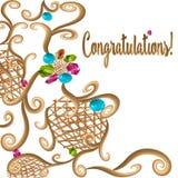 Le gril d'ornement d'or de félicitations a forgé le jeweledand par paires d'anneaux de mariage pour le mariage illustration libre de droits