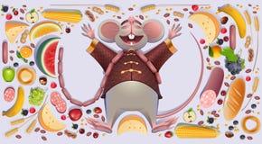 Le gros rat de souris est les pattes de propagation de repos 2020 sur l'abondance riche de richesse de symbole chinois de calendr illustration stock