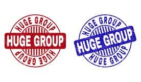 Le GROUPE ÉNORME grunge a rayé les timbres ronds illustration libre de droits