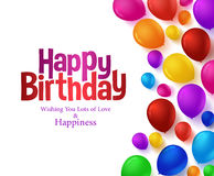 Le groupe coloré de joyeux anniversaire monte en ballon le fond pour la partie Images stock