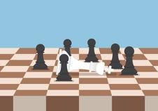 Le groupe d'échecs noirs met en gage la défaite le roi blanc illustration stock