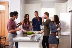 Le groupe d'amis appréciant pré le dîner boit à la maison Photo libre de droits