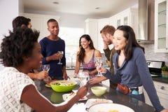 Le groupe d'amis appréciant pré le dîner boit à la maison Photographie stock libre de droits