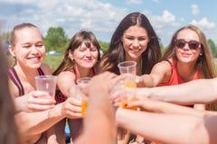 Le groupe d'amis buvant du jus et célébrant des vacances dehors pique-niquent Image stock