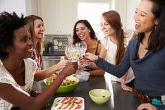 Le groupe d'amis féminins appréciant pré le dîner boit à la maison photo stock