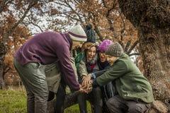 Le groupe d'amis s'asseyent sur un tronc d'un arbre faisant une pile des mains Image stock