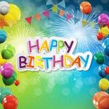 Le groupe d'hélium brillant de couleur monte en ballon le fond Ensemble de ballons et de drapeaux pour l'anniversaire, anniversai illustration libre de droits