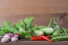 Le groupe de concombres végétaux, aubergines thaïlandaises, longs beens, Winged soit image libre de droits