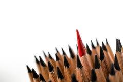 Le groupe de crayons se ferment jusqu'au crayon de couleur rouge Photos libres de droits