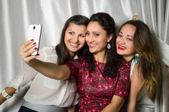 Le groupe de femmes de sourire gaies font le selfie image stock