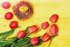 Le groupe de fleurs s'approchent des oeufs et des poulets de pâques roses photo libre de droits