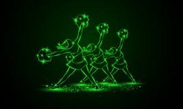 Le groupe de majorettes danse avec des poms de pom Fond cheerleading au néon vert Images stock
