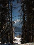 Le groupe de montagne de Piz Lischana en hiver Photos libres de droits