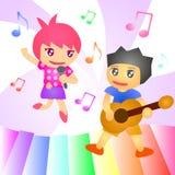 Le groupe de musique de chanson d'enfant chantent la guitare Photos libres de droits