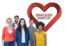 Le groupe de personnes avec donnent le sang donnent le texte de la vie et un graphique de coeur Image libre de droits