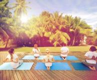 Le groupe de personnes faisant le yoga s'exerce dehors Photographie stock
