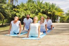 Le groupe de personnes faisant le yoga s'exerce dehors Photographie stock libre de droits
