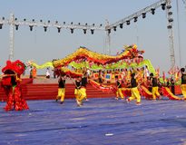Le groupe de personnes le lion de représentation et le dragon dansent Photo libre de droits