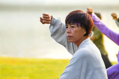 Le groupe de personnes pratiquent Tai Chi Chuan en parc Photos libres de droits