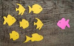 Le groupe de poissons avec un s'est dirigé contre l'écoulement Photos libres de droits