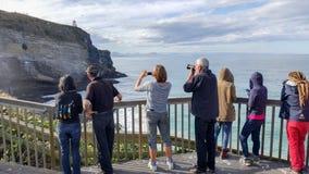 Le groupe de touristes apprécie le littoral de Dunedin, Nouvelle-Zélande photos libres de droits