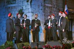 Le groupe des hommes (klapa) Tragos - Trogir Images stock