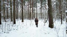 Le groupe des jeunes marche le long de la traînée du ` s de forêt le jour nuageux d'hiver banque de vidéos