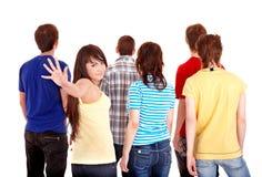 Le groupe des jeunes partent. photos stock