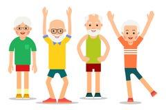 Le groupe des personnes plus âgées exécutent des exercices gymnastiques Hommes pluss âgé a illustration libre de droits