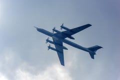 Le groupe du Tupolev stratégique soviétique Tu-95 de bombardier Image stock