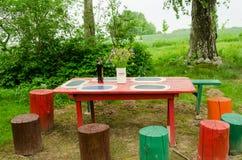 Le groupe en bois de table de jardin fleurit les tronçons colorés Photo stock