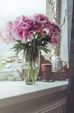 Le groupe frais de roses roses de pivoines fleurit, feuille verte dans le vase en verre sur le filon-couche de fenêtre, fond blan Photographie stock