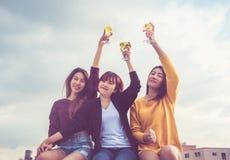 Le groupe heureux de amie de l'Asie ont plaisir rire et station thermale gaie Photographie stock libre de droits