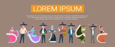 Le groupe mexicain de danseurs au Mexique traditionnel vêtx la danse pour l'espace de copie de Cinco De Mayo Festival Banner With illustration libre de droits