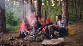 Le groupe multiracial de jeunes voyageurs masculins et féminins fait cuire la guimauve de torréfaction de nourriture sur le feu s banque de vidéos