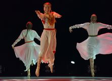 Le groupe ouvert de danse du ` s d'enfants de la danse Festival-2016 exécute slave Photo libre de droits